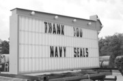 President Obama Posters - Thank You Navy Seals BW Poster by Lynda Dawson-Youngclaus