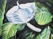 Green Oil Paintings - Thankful by Barbara Eberhart
