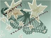 Fall Holiday Card Posters - Thankful Holiday Card Poster by Debra     Vatalaro