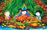 Thanksgiving Paintings - Thanksgiving Day by Zaira Dzhaubaeva