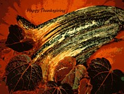 Holiday Greeting Posters - Thanksgiving Greeting Card Poster by Chris Berry