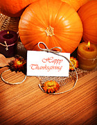 Thanksgiving Posters - Thanksgiving holiday decoration border Poster by Anna Omelchenko