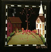 Primitive Painting Framed Prints - Thanksgiving in Kirkwood Village  Framed Print by Catherine Holman