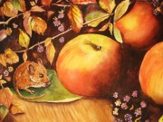 Fall Leaves Posters - Thanksgiving Mouse Guest Poster by Patricia Pushaw