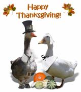 Birds Of A Feather Posters - Thanksgiving Pilgrim Ducks Poster by Gravityx Designs