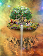 Tree Roots Digital Art Prints - That Mystical Garden of Eden Print by Lois Mountz