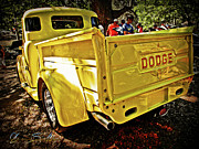 Hot Rod Prints - That Old Yellow Dodge Print by Chas Sinklier