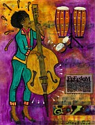 African-american Mixed Media Prints - That Sistah on the Bass Print by Angela L Walker