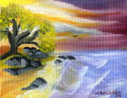 Ocean Paintings - That Yellow Tree by the Sea by Maria Williams