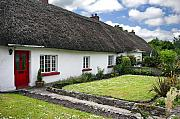 Adare Acrylic Prints - Thatch roof cottage in traditional village of  Adare Ireland Acrylic Print by Pierre Leclerc
