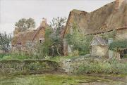 Chimneys Painting Posters - Thatched Cottages and Cottage Gardens Poster by John Fulleylove