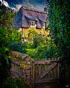 Country Cottage Digital Art Posters - Thatched Roof Country Home Poster by Chris Lord