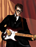 Gibson Digital Art Digital Art Prints - Thatll Be The Day- Buddy Holly Print by David Fossaceca