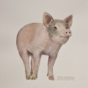 Nursery Room Art Prints Paintings - Thats Some Pig by Teresa Silvestri