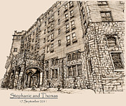 Personalized Drawings Prints - Thayer Hotel for Steph and Thomas Print by Building  Art