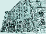 Hudson Drawings Acrylic Prints - Thayer Hotel in blue Acrylic Print by Building  Art