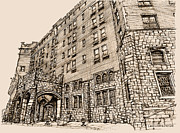 Hudson Drawings Acrylic Prints - Thayer Hotel in pink Acrylic Print by Building  Art