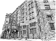 Hudson Drawings Acrylic Prints - Thayer Hotel in upstate NY Acrylic Print by Building  Art