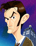 Tardis Digital Art Prints - The 10th Doctor Print by Kevin Greene