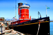 Tourist Attraction Digital Art Metal Prints - The 1907 Hercules Steam Tug Boat . 7D14141 Metal Print by Wingsdomain Art and Photography