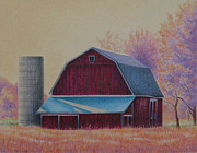 Autumn Drawings Prints - The 1918 Barn Print by Elizabeth Dobbs