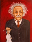 Puppet Paintings - The 2 Einsteins by Leah Saulnier The Painting Maniac