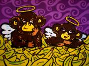Bananas Paintings - The 2 Monkeys by Katie Hester
