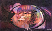 Mistikkal Original Art Prints - The 3 Goddesses Print by Rosy Hall