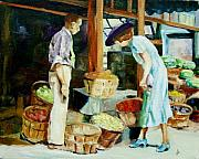 1930s Paintings - The 30s Market Day by Diane Kraudelt