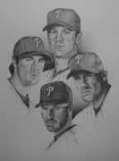 Baseball. Philadelphia Phillies Drawings - The 4 Aces by Paul Autodore
