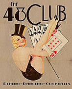Girls Digital Art Framed Prints - The 48 Club Framed Print by Cinema Photography