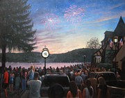 4th July Painting Prints - the 4th of July on Lake Mohawk Print by Tim Maher