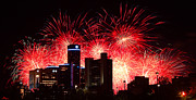 River Digital Art Originals - The 54th Annual Target Fireworks in Detroit Michigan - Version 2 by Gordon Dean II