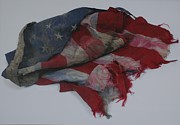 Red White And Blue Prints - The 9 11 Wtc Fallen Heros American Flag Print by Rob Hans