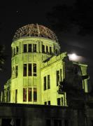 Nightime Posters - The A-Bomb Dome at Night Poster by Andy Smy
