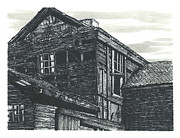 Abandoned House Drawings Prints - The Abandoned Print by Jonathan Baldock