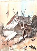 Buildings Drawings - The Abandoned Woodshed by Windy Mountain
