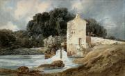 Rushing Water Paintings - The Abbey Mill - Knaresborough by Thomas Girtin