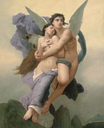 Flight Painting Framed Prints - The Abduction of Psyche Framed Print by William-Adolphe Bouguereau