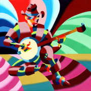 Cubism Paintings - The Abstract Futurist Cowboy Banjo Player by Mark Webster
