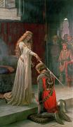 Knelt Posters - The Accolade Poster by Edmund Blair Leighton