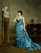 Blue Dress Paintings - The Accomplice by Auguste Maurice Cabuzel
