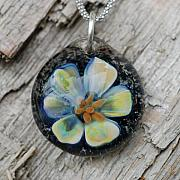 Boro Jewelry - The Accomplice Water Lily Borosilicate Implosion Pendant by Paula McDonough