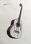 Acoustic Guitar Drawings - The Acoustic Man by Wade Hampton