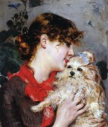Half Length Paintings - The actress Rejane and her dog by Giovanni Boldini