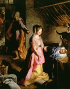 Nativity Painting Metal Prints - The Adoration of the Child Metal Print by Federico Fiori Barocci or Baroccio