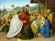 Present Painting Framed Prints - The Adoration of the Kings Framed Print by Bridgeman