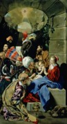 Mary And Jesus Paintings - The Adoration of the Kings by Fray Juan Batista Maino