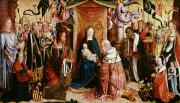 Kneeling Prints - The Adoration of the Kings Print by Master of Saint Severin