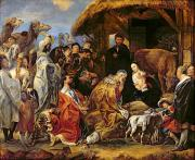 Adoration Painting Prints - The Adoration of the Magi Print by Jacob Jordaens